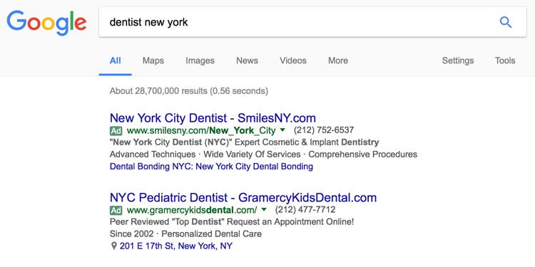 Google paid search ads for dentists