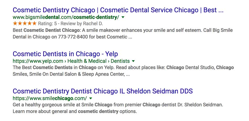 dentist seo search results