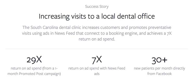 dentists Facebook paid advertising